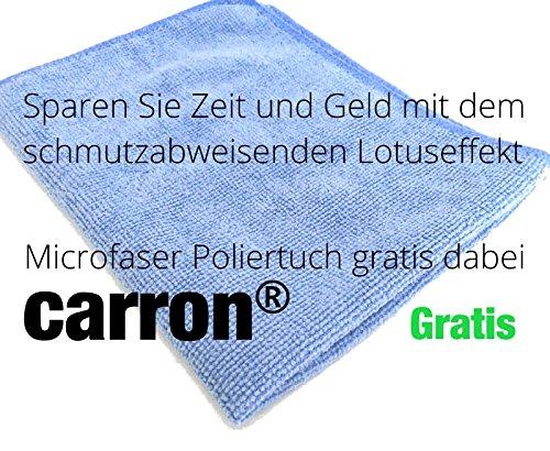 Mikrofasertuch gratis - carron® Lotuseffekt Versiegelung Dusche Duschwand Glas Acryl gegen Kalk + Aktion: Microfaser-Poliertuch gratis dabei. Auch für Versiegelung von Badewannen.
