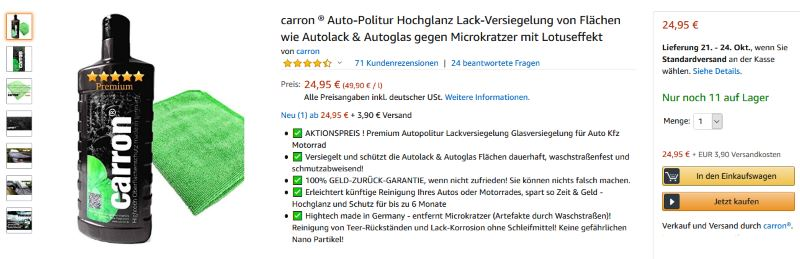 carron Autopolitur auf amazon