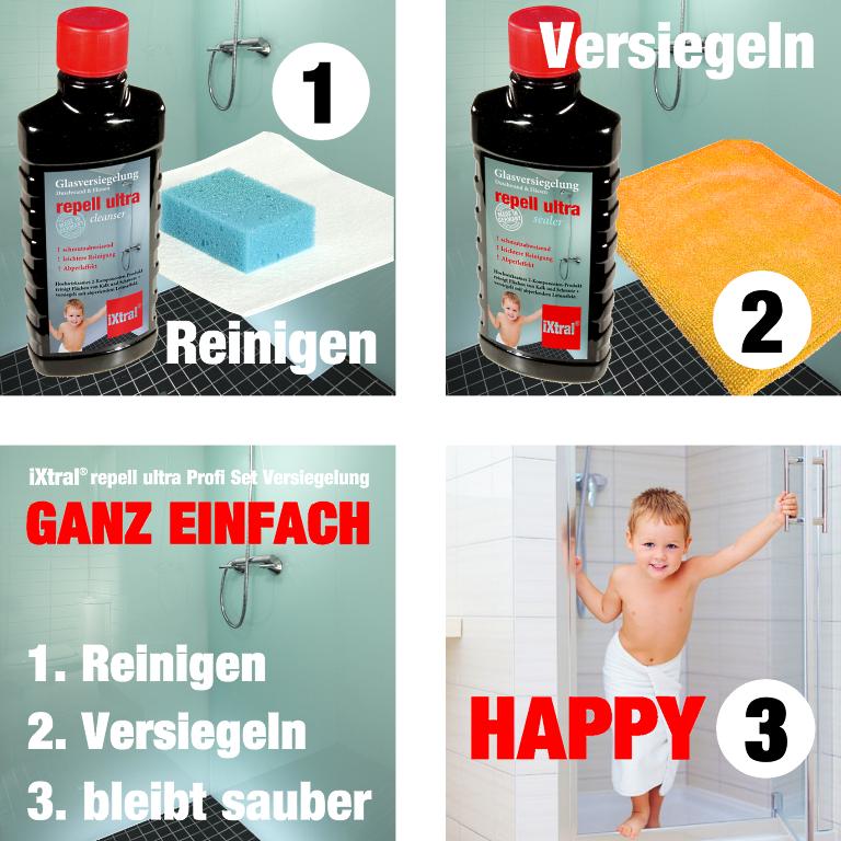 GANZ EINFACH HAPPY - So einfach wird iXtral repell ultra Glasversiegelung für Duschkabine angewendet