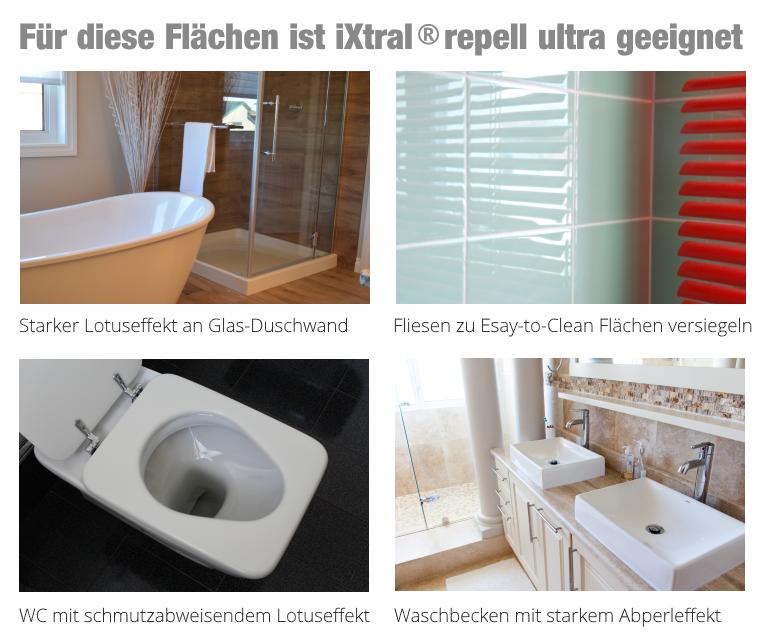 Für diese Flächen ist iXtral repell ultra Glasversiegelung geeignet : Dusche Duschkabine Duschwand Waschbecken WC Fliesen