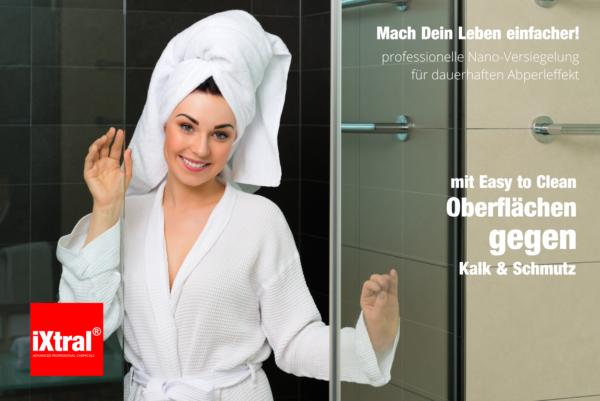 Nie mehr Kalk und Schmutz an Dusche und Glas-Duschwand? Easy-to-clean Oberflächen mit carron Versiegelungen!