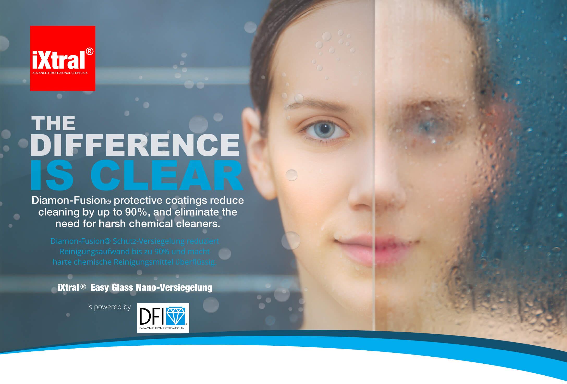 iXtral Easy Glass Nano-Versiegelung reduziert den Reinigungsaufwand bis zu 90% und macht harte chemische Reinigungsmitel überflüssig
