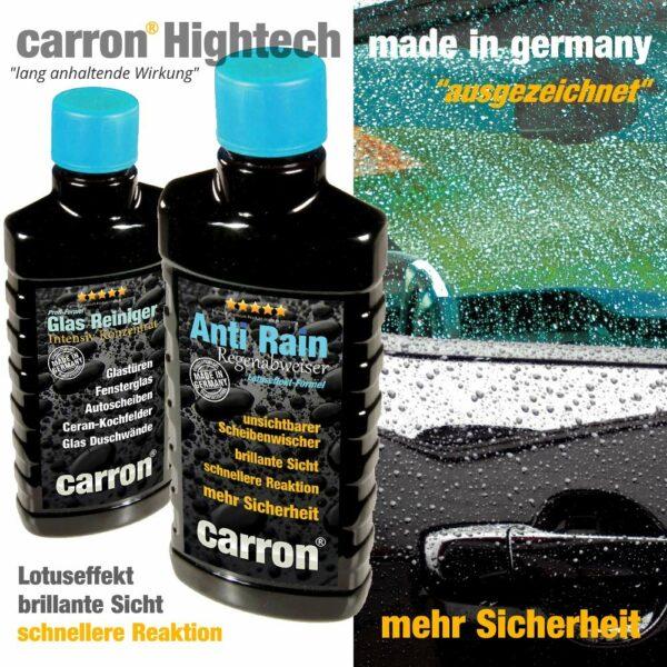 carron Anti-Rain Regenabweiser Glasversiegelung im Profi-Set für Lotuseffekt an Autoscheibe und Frontscheibe wirkt als unsichtbarer Scheibenwischer Hightech Politur