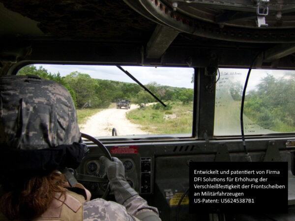 US-Patent Glasversiegelung Nanoversiegelung Frontscheiben an Militätfahrzeugen