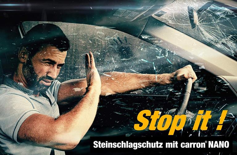 Steinschlagschutz Sicherheit mit carron Nanoversiegelung Autoscheibe Frontscheibe