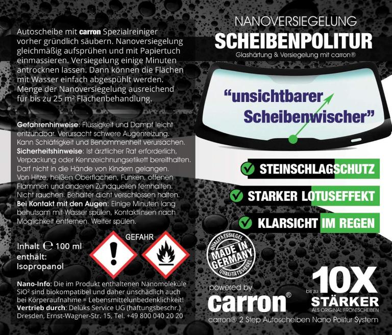 carron Auto Scheibenversiegelung Scheibenpolitur Nanoversiegelung unsichtbarerer Scheibenwischer Lotuseffekt