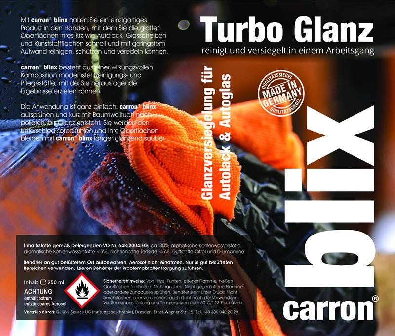 carron blix! Turbo Glanz Auto Schnell Politur für Express Versiegelung Etikett