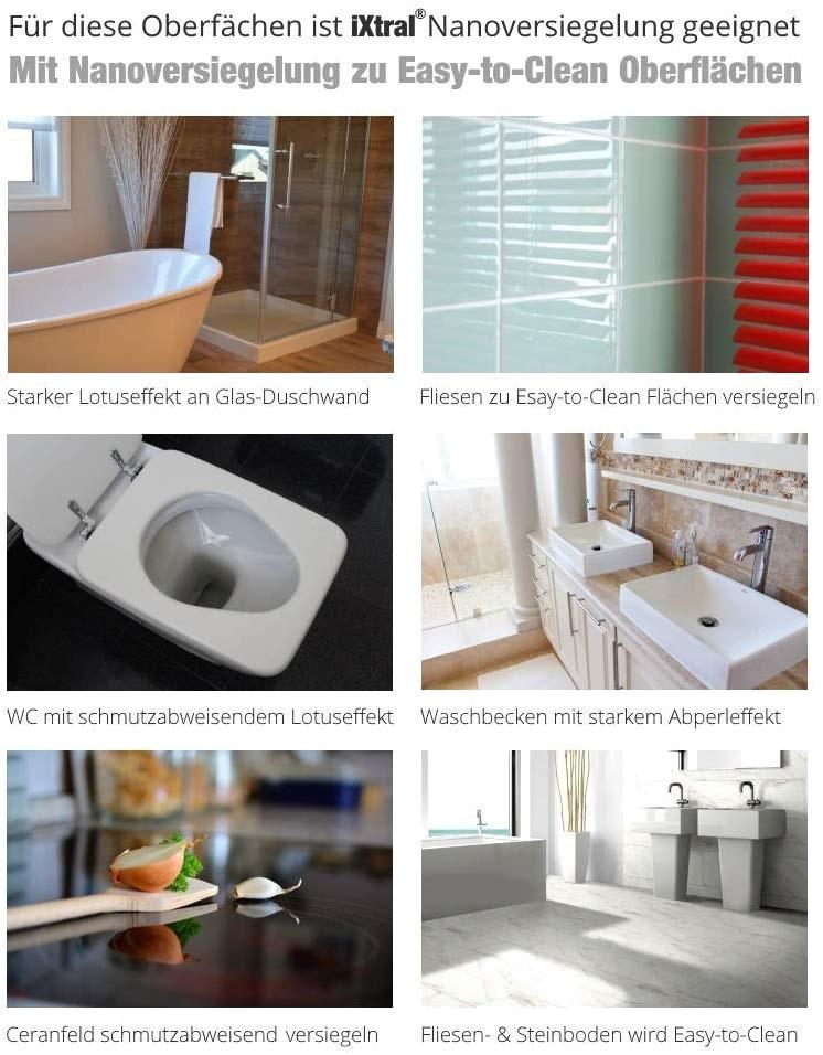 iXtral Nanoversiegelung Glasversiegelung ist geeignet zur Reinigung und Versiegelung von Glas Keramik Fliesen Porzellan Duschwand Waschbecken und alle mineralichen Oberflächen