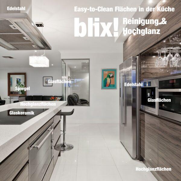 Hochglanz und Schutz für glatte Oberflächen in der Küche - Reiniger und Versiegelung von Küchenfront, Arbeitsplatte, Glaskeramik, Glasflächen, Edelstahl, Spüle, Spiegel, Glasfronten