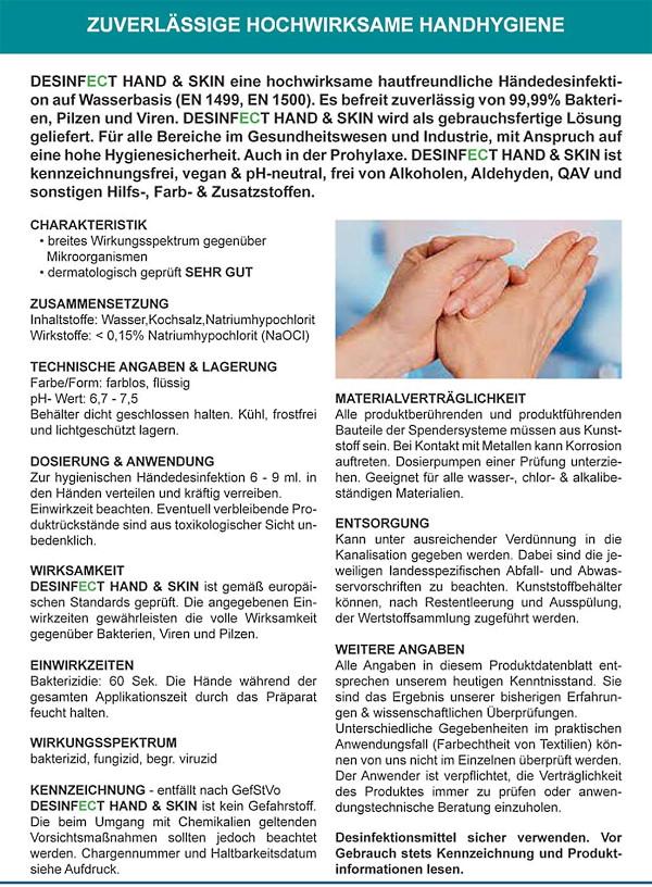 Desinfect® Händedesinfektion 99,999% Sprüh-Desinfektion von Viren, Bakterien, Pilzen - hautfreundlich ph-neutral ohne Alkohol, dermatologischer Test sehr gut - zuverlässige hochwirksame Handhygiene