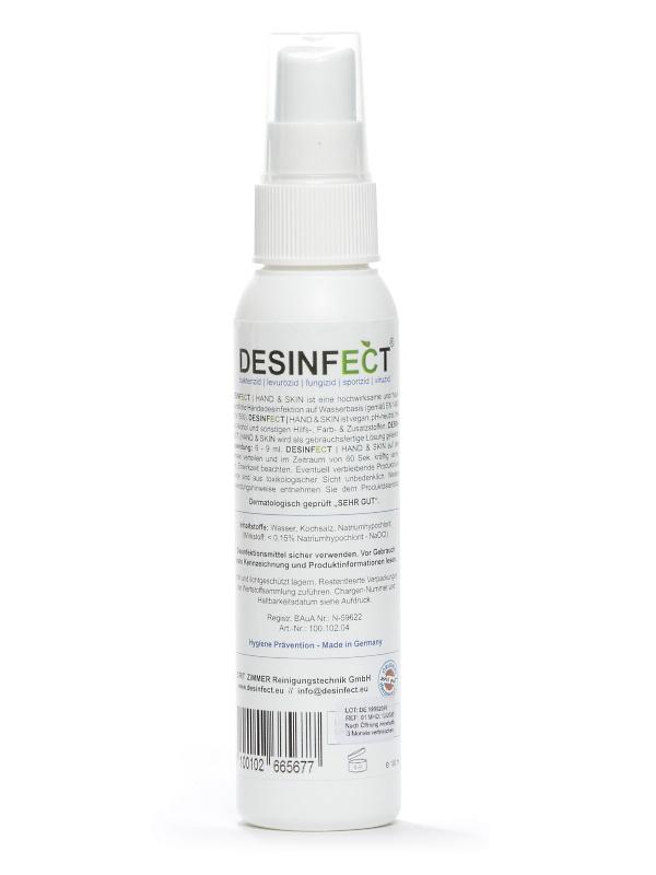 Desinfect® Händedesinfektion 99,999% Sprüh-Desinfektion von Viren, Bakterien, Pilzen - hautfreundlich ph-neutral ohne Alkohol, dermatologischer Test sehr gut 100 ml