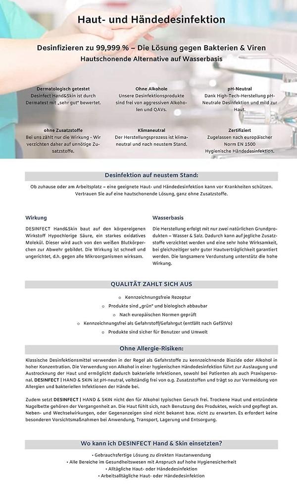 Desinfect® Händedesinfektion 99,999% Sprüh-Desinfektion von Viren, Bakterien, Pilzen - hautfreundlich ph-neutral ohne Alkohol, dermatologischer Test sehr gut - zuverlässige hochwirksame Handhygiene für Allergiker geeignet